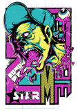 Zombie superstar. Vector illustration ideal for printing on apparel clothes royalty free illustration