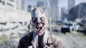Zombie terribile in città distrutta Concetto di apocalisse delle zombie rappresentazione 3d illustrazione vettoriale