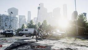 Zombie terribile in città distrutta Concetto di apocalisse delle zombie rappresentazione 3d illustrazione di stock