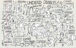 Zombie Undead Doodle Set Royalty Free Stock Photography