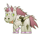 Zombie unicorn. Crazy undead unicorn with the worm on the white background Royalty Free Stock Photo