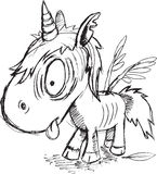 Zombie Unicorn Sketch Royalty Free Stock Photography