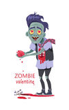 Zombie Valentine Man Flat Vector Illustration Royalty Free Stock Photo