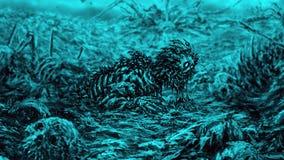 Zombie wacht vom Schmutz auf blauem Hintergrund auf lizenzfreie stockbilder