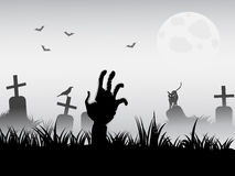 Zombie waking. For halloween background vector illustration
