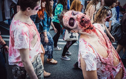 Zombie Walk in Warsaw Stock Images