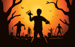 Zombie walking out from grave. Stock Photography