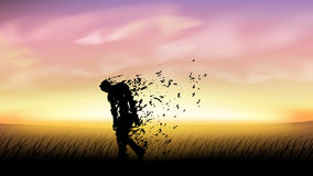 Zombie walking at sunset. Illustration of walking zombie in some field at sunset Stock Photos