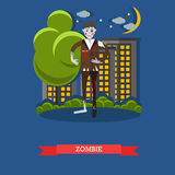Zombie walks on a street. Happy halloween holiday concept poster. Vector illustration in flat style design Stock Photography