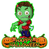 Zombie wants a happy Halloween on an isolated white background. Vector illustration Zombie wants a happy Halloween on an isolated white background royalty free illustration