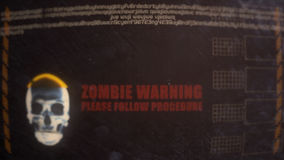 Zombie Warning Alert on an Old Dirty Monitor. Zombie Warning Alert on an Old Retro Monitor stock video