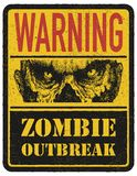 Zombie. Warning Sign. Hand Drawn. Vector Royalty Free Stock Photos