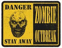 Zombie. Warning sign. Hand drawn. Vector Stock Photo