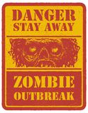 Zombie. Warning sign. Hand drawn. Vector Royalty Free Stock Photography