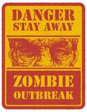 Zombie. Warning sign. Hand drawn. Vector Royalty Free Stock Images