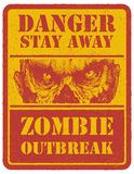 Zombie. Warning sign. Hand drawn. Vector Stock Image