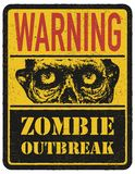 Zombie. Warning sign. Hand drawn. Vector illustration eps8 Stock Photography