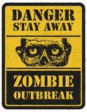 Zombie. Warning sign. Hand drawn. Vector illustration eps8 Royalty Free Stock Photos