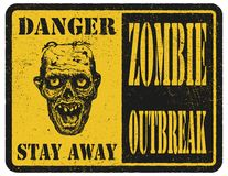 Zombie. Warning sign. Hand drawn. Vector illustration eps8 Stock Photo