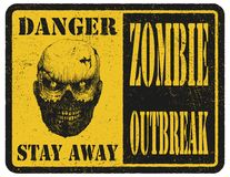 Zombie. Warning sign. Hand drawn. Vector. Zombie. Hand drawn. Vector illustration eps 8 Stock Photography