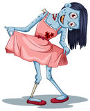 A zombie wearing a dress. Illustration of a zombie wearing a dress on a white background Stock Image