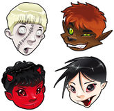 Zombie, Werewolf, Devil and Vampire. Cartoon and vector isolated characters royalty free illustration