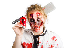 Zombie woman with bright idea Royalty Free Stock Photography