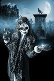 Zombie Woman Day Of The Dead. Zombie Woman In Graveyard.  Catrina lady as day of the dead zombie.  Mexico halloween Stock Image