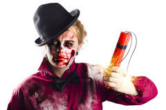 Zombie woman with dynamite Royalty Free Stock Photo