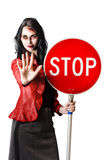 Dead end concept. Zombie woman with red stop sign, dead end concept on white background Stock Photo