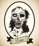 Zombie Woman Retro Portrait, Vector Illustration Royalty Free Stock Images