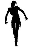 Zombie woman silhouette. Illustration zombie girl with punk hairs iroquois Royalty Free Stock Photos