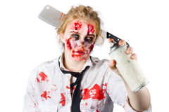 Zombie woman with spray can Royalty Free Stock Photo