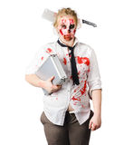 Zombie woman with suitcase Royalty Free Stock Images