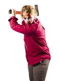 Zombie woman swinging axe Stock Photography