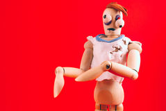 Zombie wooden dummy. Stock Photo