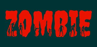 Zombie word and silhouettes on them Stock Photos
