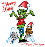 Zombie xmas. Green zombie merry xmas cartoon Royalty Free Stock Photography