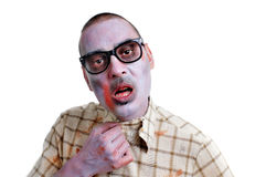 Zombie young man with black plastic-rimmed eyeglasses Stock Photos