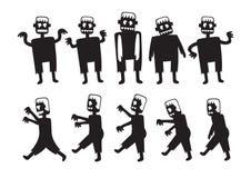 Zombie-Zeichentrickfilm-Figuren eingestellt Lizenzfreie Stockfotos
