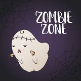 Zombie Zone - Halloween party hand drawn lettering with a sketch cute monster and spider web. Fun illustration  Royalty Free Stock Image