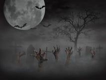 Zombiehand, die aus dem Boden heraus steigt Stockbilder
