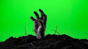 Zombiehand, die vom Grundgrab auftaucht Ein grimmiger Minireaper, der eine Sense anhält, steht auf einem Kalendertag, der glückli stock video footage