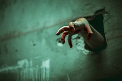 Zombiehand durch die gebrochene Wand Horror und furchtsamer Film conc stockbilder