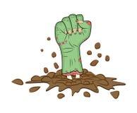 Zombiehand, Faustgeste aus Grund-Halloween-Vektor heraus - realistische Karikatur lokalisierte Illustration Bild furchtsamen Mons Lizenzfreie Stockfotografie
