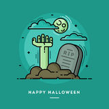Zombiehand im Kirchhof, dünne Linie Halloween-Fahne des flachen Designs Lizenzfreie Stockfotos