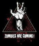 Zombiehand met de bloedige vlekken op achtergrond, vectorembleem stock illustratie