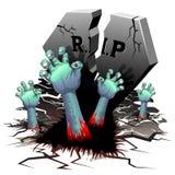 Zombiehanden op Begraafplaats royalty-vrije illustratie