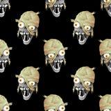 Zombiehoofd op een zwarte achtergrond Royalty-vrije Stock Afbeelding