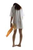 Zombiemädchen mit Plastikpuppe Stockfoto